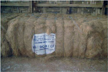 Baled fiber ready to  deliver